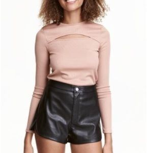 Nude ribbed fitted long sleeve cut out top